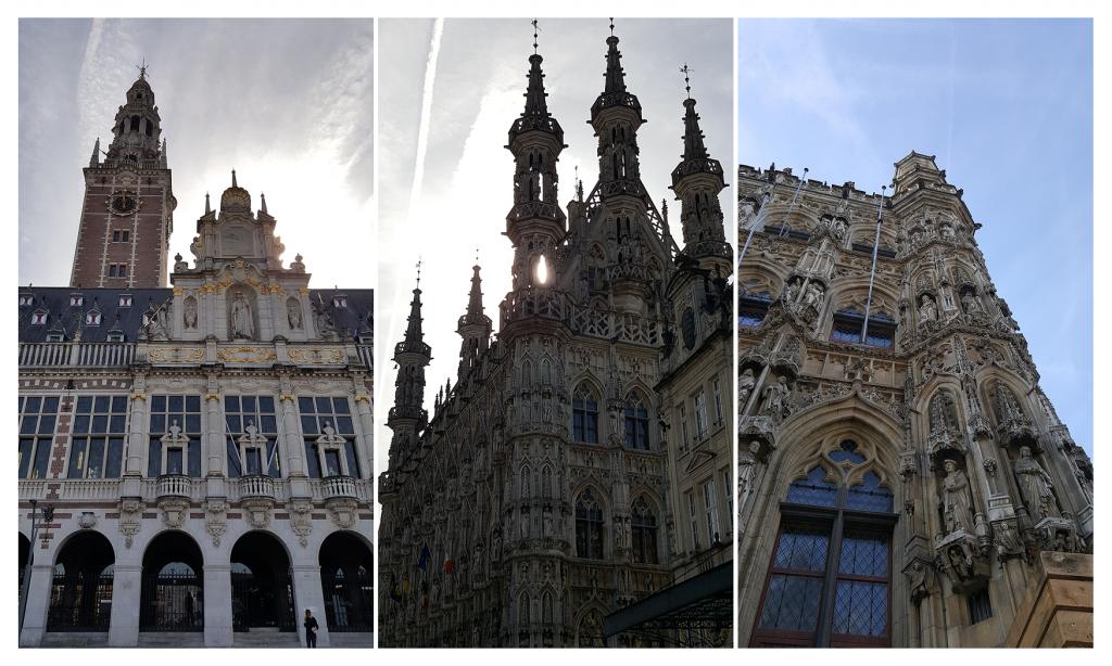 Wunderschöne Gebäude in Leuven. Links die Universitätsbibliothek; mittig und rechts das ehrwürdige und schön verzierte Rathaus
