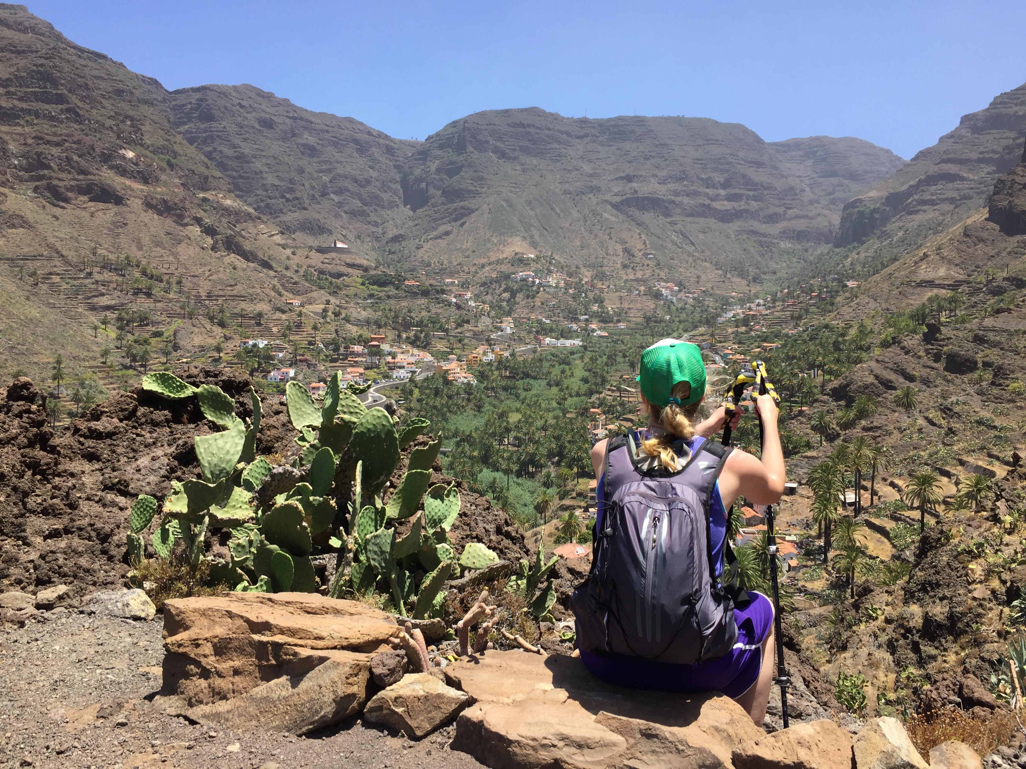 Kurze Pause mit tollem Ausblick auf das Valle Gran Rey