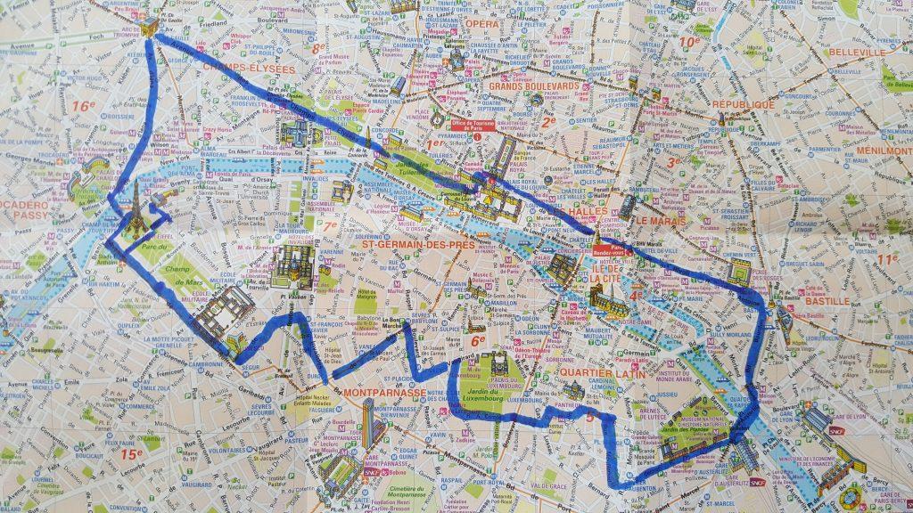 Ein langer Spaziergang durch Paris mit zahlreichen Sehenswürdigkeiten